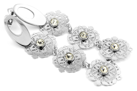 Ladies earrings - Silver on a white background