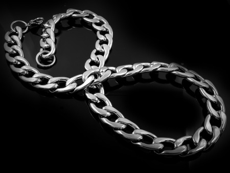 Chain for Men - Luxury jewelry - Stainless steel - Black background Stock Photo
