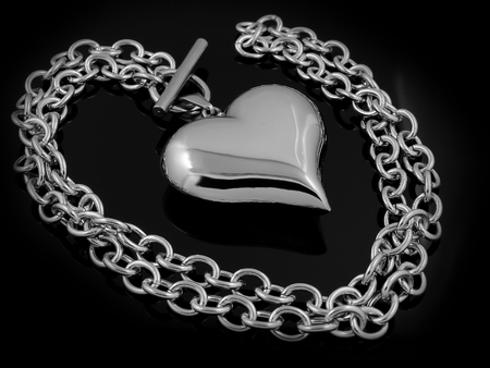 Heart necklace for women - Jewelry on a black background