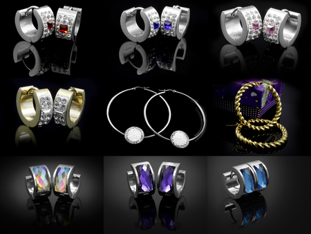 diamond stones: Earrings Mix - Large Set - Silver Gold Stainless Steel Stock Photo
