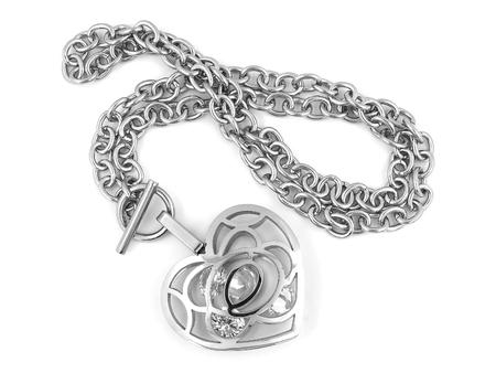 coeur en diamant: Silver Heart Necklace - One color background Banque d'images