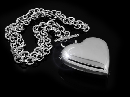 Necklace Heart - Stainless Steel - One color background Stock Photo