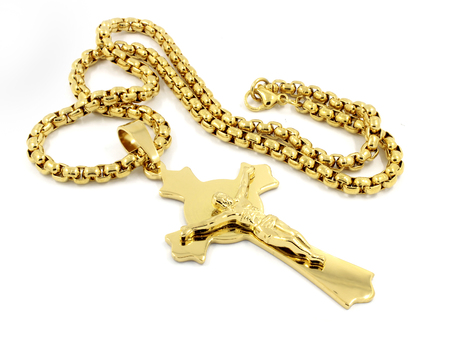Pendant Necklace Cross - Rosary - One color background