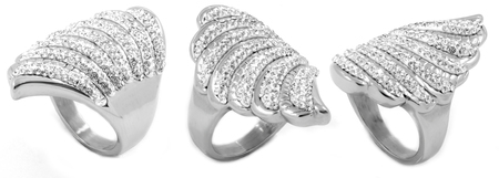 Ladies Silver Ring - Stainless Steel - White Background