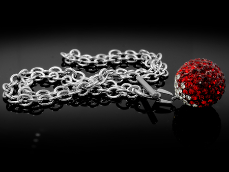 ball and chain: Necklace Balls - Silver Stainless Steel - Black color background