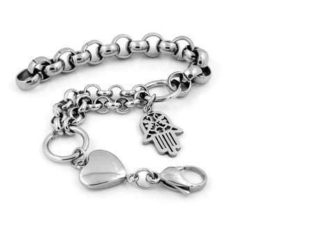Jewelry Bracelet - Silver Stainless Steel - One color background Imagens
