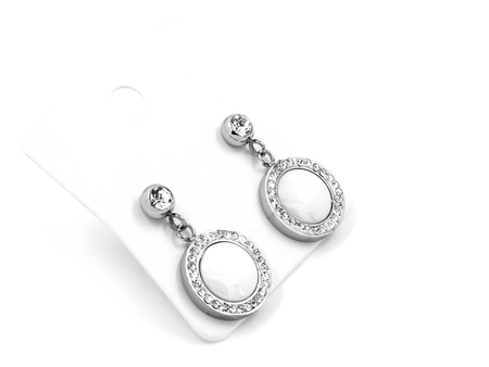 Jewelry earrings - cubic Zirconia - Stainless steel and crystals - One color background Banque d'images