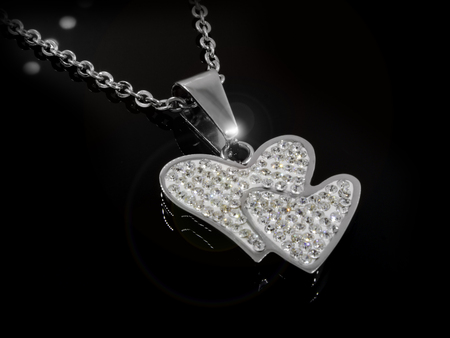 Necklace Heart - Silver Stainless Steel - One color background