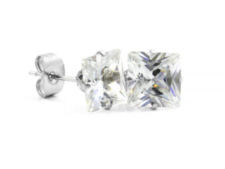Ladies Earrings - Stainless Steel - One color background Imagens