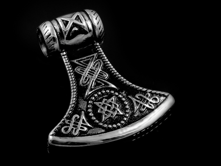 Jewelry Pendant for Men Celtic Ax Stainless Steel - One color background Imagens