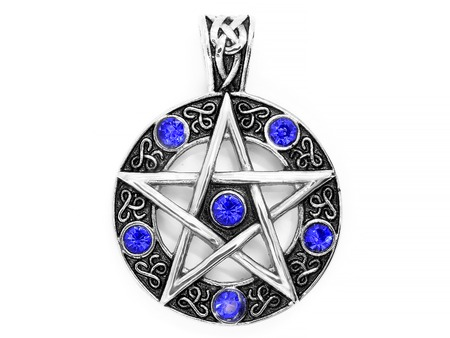 Jewelry, pendant. Magic pentagram. Stainless steel. One background color. 스톡 콘텐츠