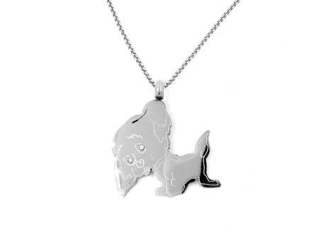 Jewelry Pendant Dog. Stainless steel. One background color