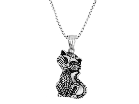 Jewelry, Pendant Cat. Stainless steel. One background color