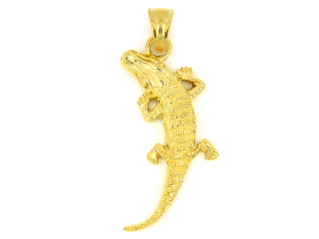 Jewelry Pendant - Lizard, Chameleon, Crocodile - Stainless Steel - White Background Color