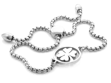 Jewel. Four leaf clover for luck. Stainless steel. One color background