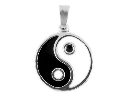 Pendant with Jin Jang symbol. Stainless steel. One background color