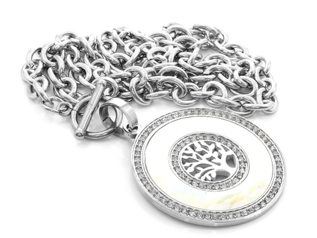 Jewel Necklace. Pendant Tree of Life. Stainless steel. One color background Imagens