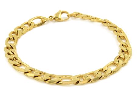 Juwel Goldarmband. Rostfreier Stahl. Einfarbiger Hintergrund