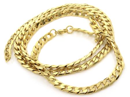Schmuckset. Halskette und Armband. Rostfreier Stahl. Einfarbiger Hintergrund