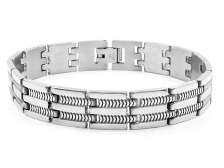 Jewelry silver bracelet. Stainless steel. One color background
