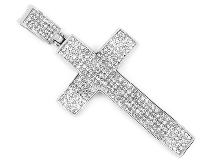 Jewel Pendant. Necklace cross. Stainless steel. One color background Publikacyjne