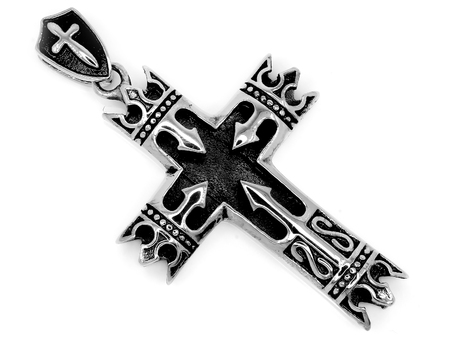 Jewel Pendant. Necklace cross. Stainless steel. One color background Editorial