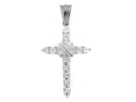 Jewel Pendant. Necklace cross. Stainless steel. One color background 新聞圖片