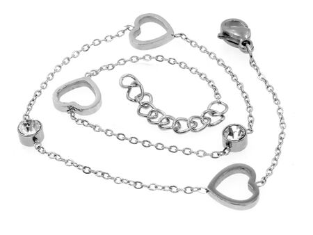 Jewel. Women's bracelet with hearts. Stainless steel. One color background