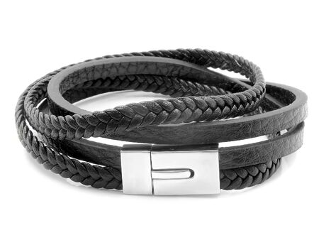 Jewelry bracelet for men. Stainless steel and leather. White color background