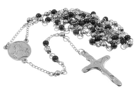 Jewel Necklace Rosary. Stainless steel. One color background