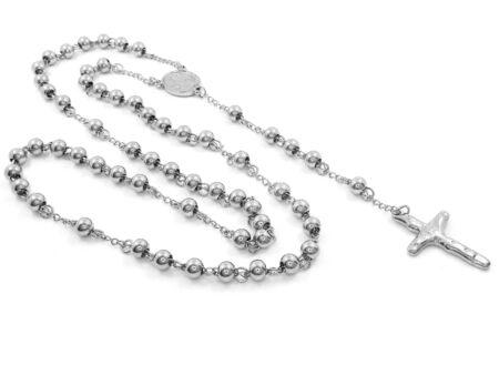 Jewel Necklace Rosary. Stainless steel. One color background Reklamní fotografie
