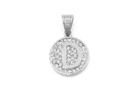 Jewelry pendant. Letter of the alphabet. Stainless steel with cubic zircons. White color background