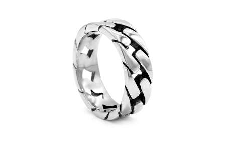Men's stainless steel ring. White color background