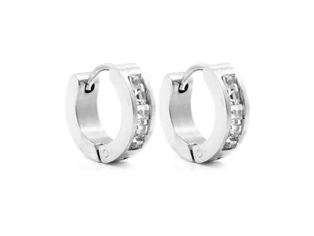 Women's earrings. Stainless steel. White color background. OEM non-branded product Standard-Bild