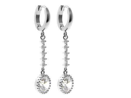 Jewelry earrings. Stainless steel. Non-branded OEM product. White color background