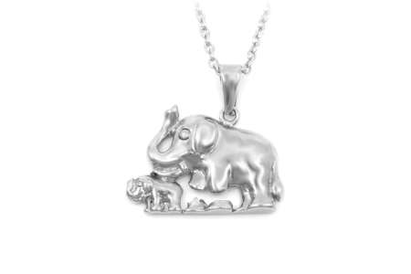 Jewelry pendant elephant for good luck. Stainless steel. One color background. OEM product