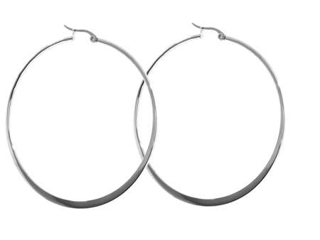 Women's earrings. Stainless steel. White color background. OEM non-branded product