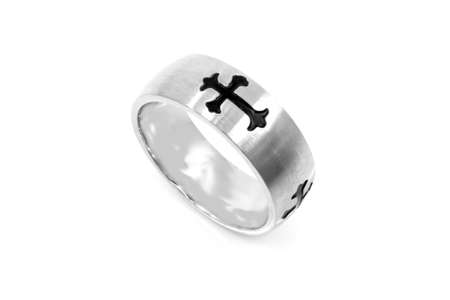 Jewelry stainless steel ring with cross. One color background. OEM non-branded product