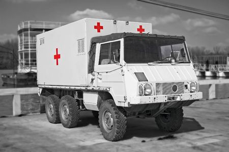bw: B&W image of retro hospital truck with red crosses