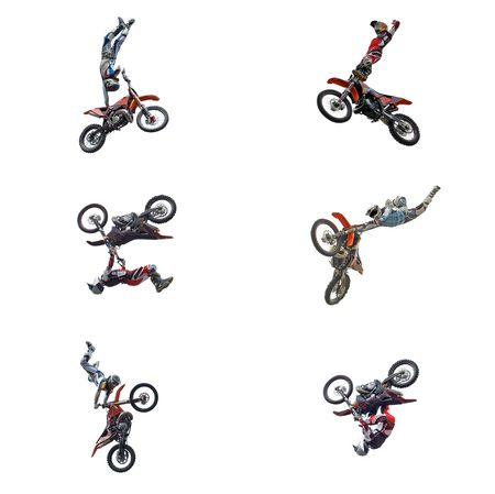 x, mx, fun, air, race, jump, bike, flip, high, dirt, fast, racer, cross, trail, rider, power, wheel, cycle, games, motor, speed, track, helmet, active, riding, winner, series, sports, action, flying, freedom, extreme, isolated, speedway, off-road, motocro Stock Photo - 4988064