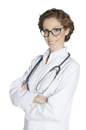one mid adult woman only: Portrait of cheerful female doctor