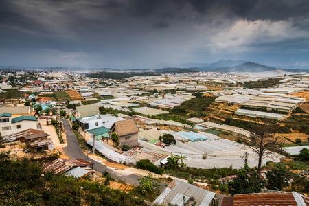 View of many greenhouses in beautiful Dalat, Vietnam
