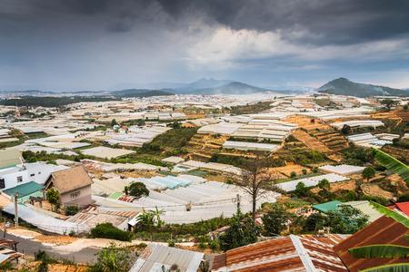 View of many greenhouses in Dalat, Vietnam Stock Photo