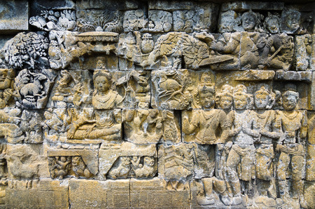 lintel: Religious Place Wall lintel decorative Asia Cultural Heritage Stone bas-relief on the wall of Borobudur, Java, Indonesia