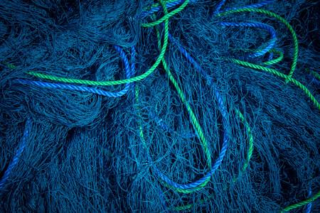 Blauwe visnetten Stockfoto