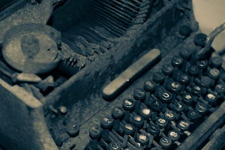 Gezicht op een antieke oude handmatige schrijfmachine. Stockfoto