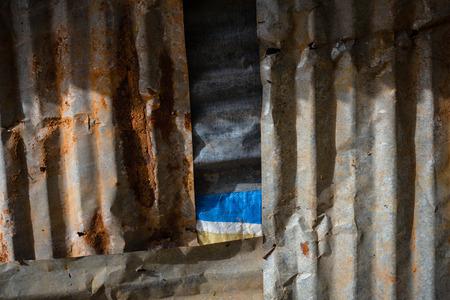 Oude roestige metalen muur Stockfoto