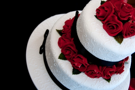 wedding cake: Rose wedding cake  Stock Photo