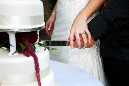 Bride and groom cutting wedding cake photo