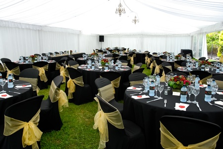 Wedding Marquee with black and gold